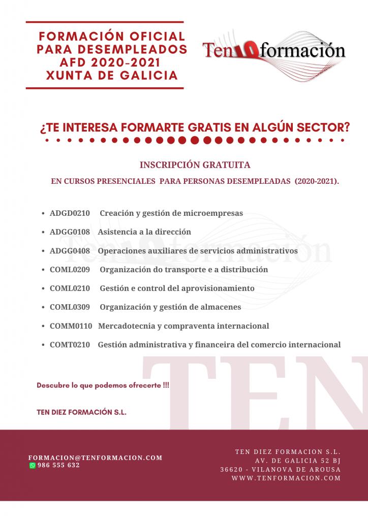 Formacion Oficial Para Desempleados Afd 2020 2021 Xunta De Galicia Ten Formacion